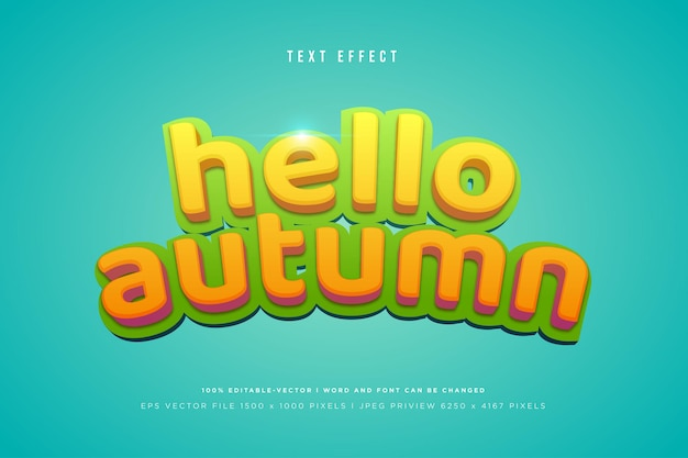 Hello autumn 3d text effect on tosca background