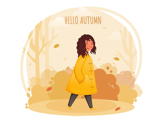 Hello autumn abstract background with smiley cute girl in walking pose.