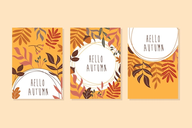 Hello autumn. abstract leaves art. a set of postcards in orange and brown colors. autumn leaves and decor elements. vector illustration