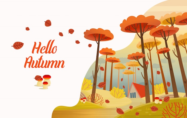 Hello, autumn. autumn card. landscape with road, house and yellow magical trees. cartoon style vector.