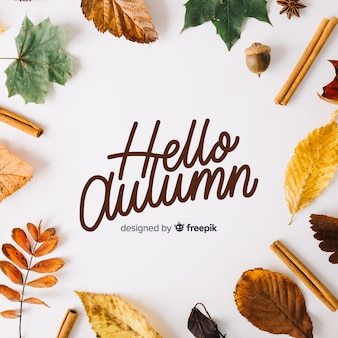 Hello autumn background calligraphic style