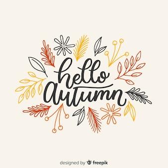 Hello autumn background calligraphic style