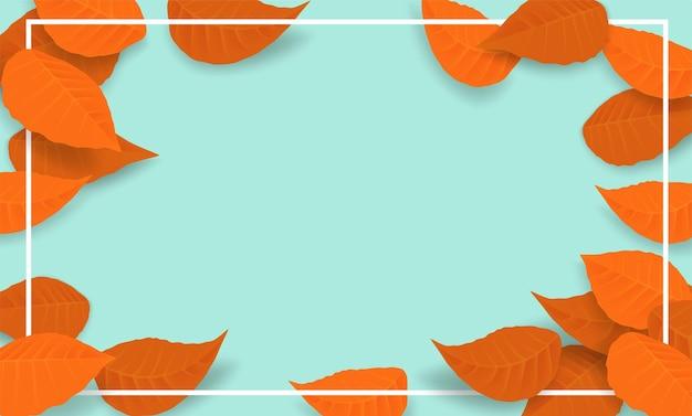 こんにちは秋の背景。ミントグリーンの背景に紅葉のデザイン。ベクター。