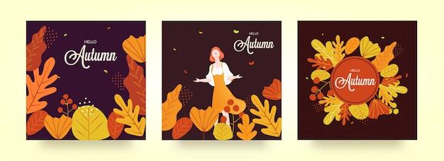 Hello autumn background set.
