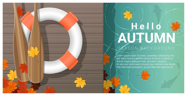 Hello autumn background with colorful leaves on wooden pier