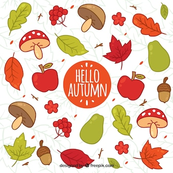 Hello autumn background with colorful leaves