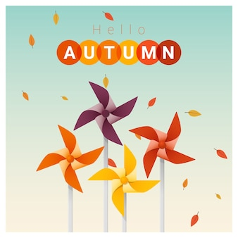 Hello autumn background with colorful pinwheels
