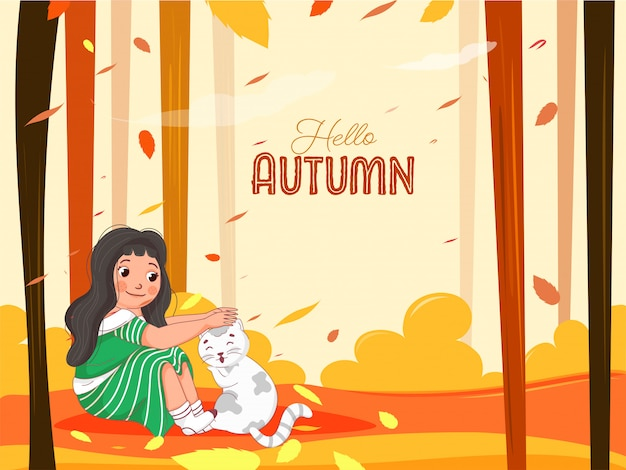 Hello autumn background with cute girl care or loving cat in sitting pose.
