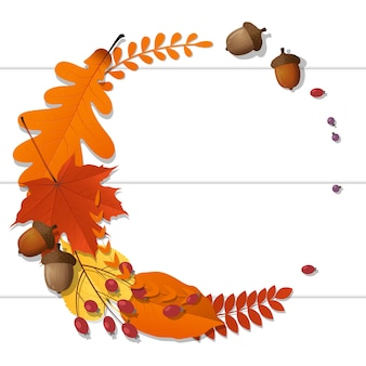 Hello autumn background with decorative wreath