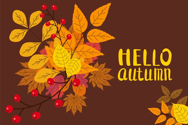 Hello autumn background with fall leaves fall