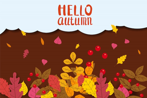 Hello autumn, background with falling leaves