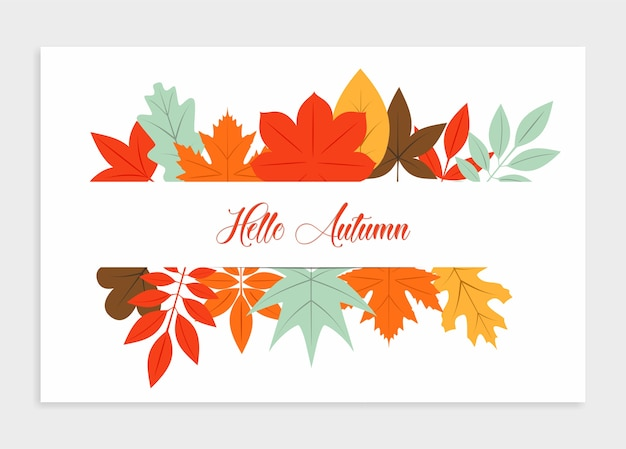 Hello autumn background with flat leaves