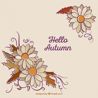 Hello autumn background with floral corners