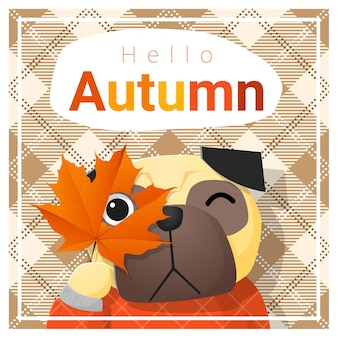 Hello autumn background with happy dog