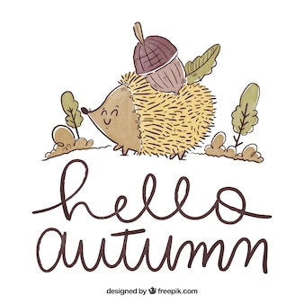 Hello autumn background with lettering
