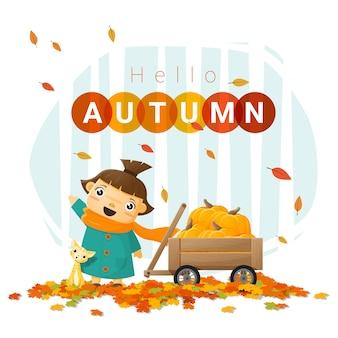 Hello autumn background with little girl Premium Vector