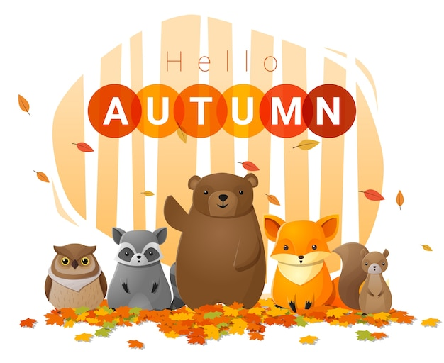 Hello autumn background with wild animals