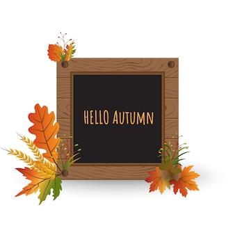 Hello autumn background wood textured photo frame
