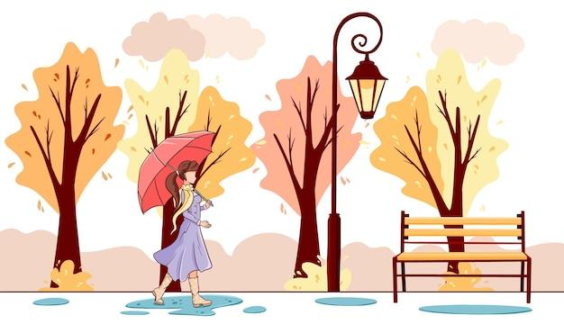 Привет осенний баннер. девушка с зонтиком гуляет по осеннему парку. мультяшный стиль. векторная иллюстрация для дизайна и декора.