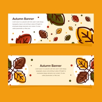 Hello autumn banner template design