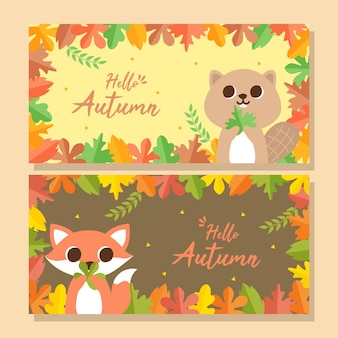 Hello autumn banner with cute animals