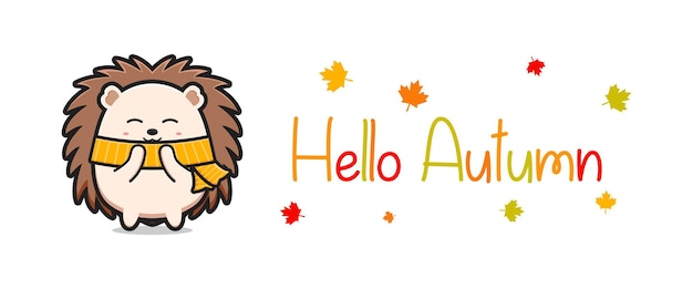 Hello autumn banner with cute hedgehog doodle cartoon icon illustration
