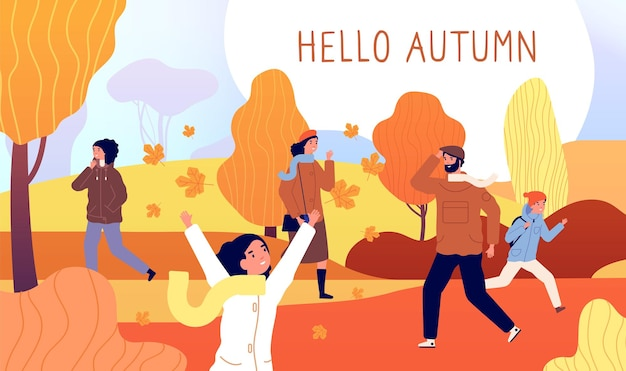 Привет осенний баннер. желтый ноябрь, мужчины в сезонном стиле гуляют в парке. красный оранжевый куст, природа падения и люди деятельности векторные иллюстрации. сезонная листва, осень октябрь, кленовый лист натуральный