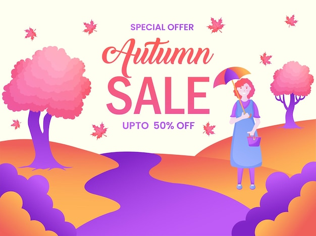 Привет, осень, самая большая скидка на распродажу и красочный осенний фон и листья