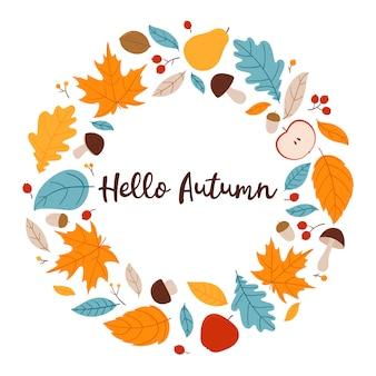 Привет осень. яркий осенний венок с листьями, ягодами, яблоками, грушами и грибами. иллюстрация, изолированные на белом фоне.