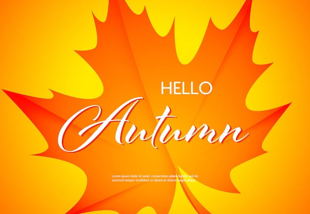 Hello autumn bright poster with text sample
