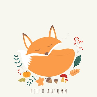 Hello autumn card of cute fox.