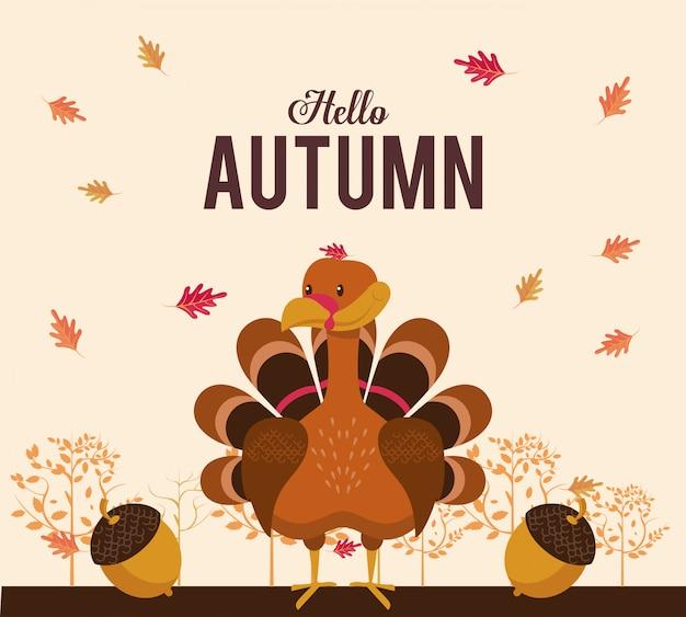 Hello autumn card with cute animal cartoons