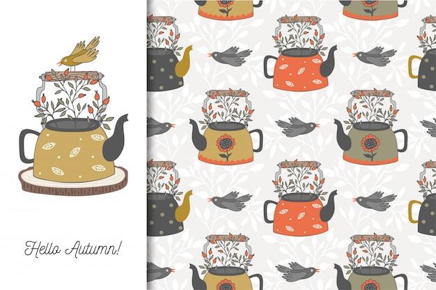 こんにちは、ティーポットと鳥と秋のカード。漫画のシームレスなパターン。手描きデザイン