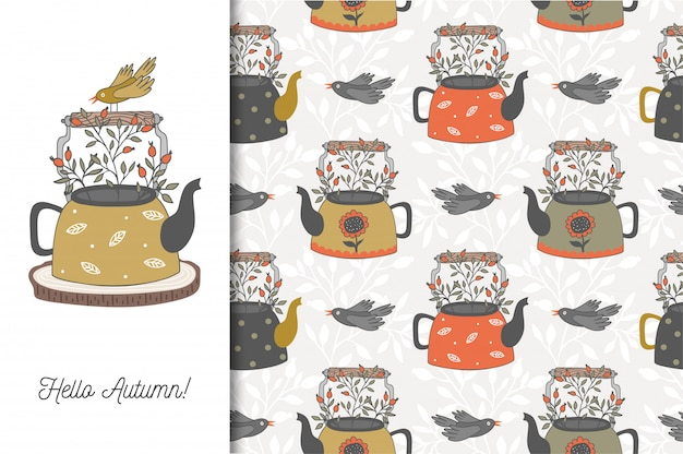 Hello autumn card with teapot and bird. cartoon seamless   pattern. hand drawn   design