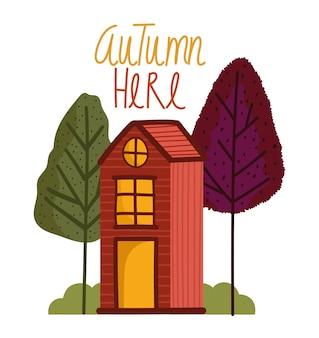 Hello autumn, cartoon wooden house trees bushes nature.