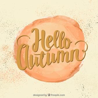 Привет, осень, кружок, окрашенный акварелью