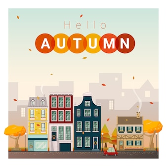 Hello autumn cityscape background