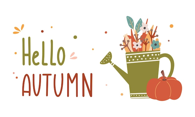 Hello autumn colorful lettering composition with watering can and pumpkin vector flat illustration