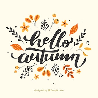 Hello autumn composition with flat design