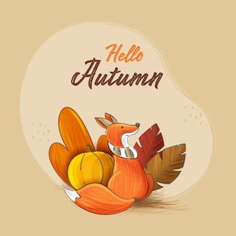안녕하세요 만화 여우 앉아, 호박, 베이지색 배경에 나뭇잎과 가을 개념.