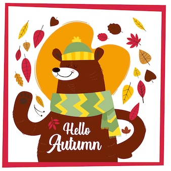 Hello autumn. creative hand drawn card with cute big bear