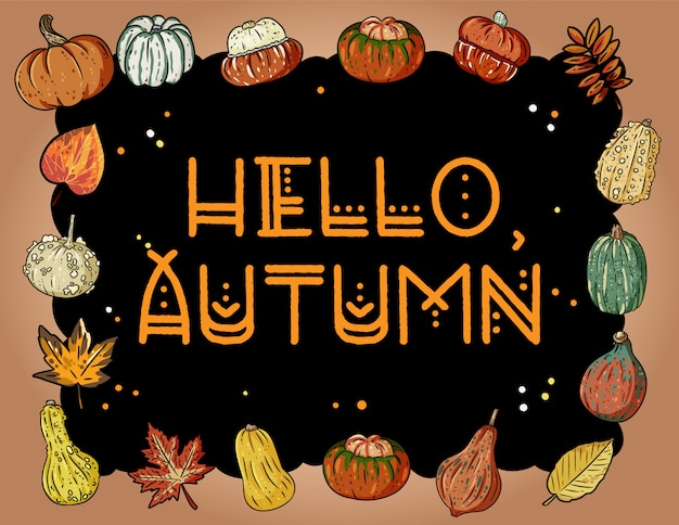 Hello autumn cute cozy banner with pumpkins and leaves. autumn festive poster. fall harvest greetings postcard