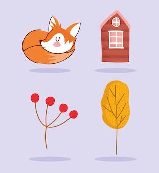 Hello autumn, cute fox animal sleeping house tree branch set icons.