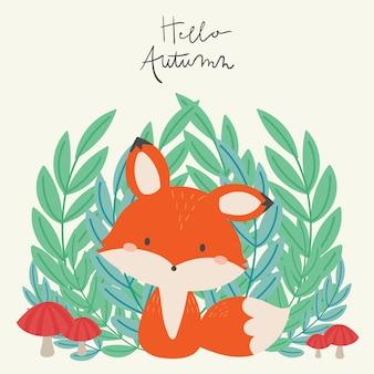 Hello autumn. cute fox in the wild illustration.