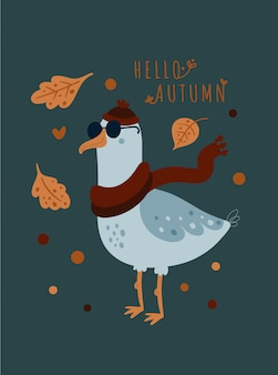 Hello autumn. cute seagull bird in scarf and hat