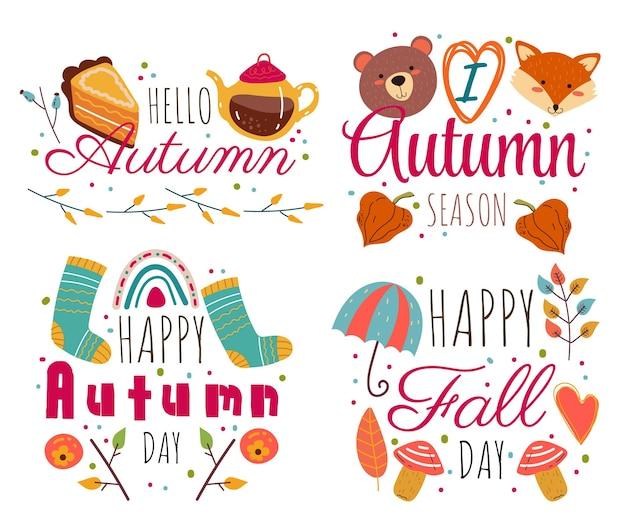 こんにちは秋の装飾ラベル分離セットデザイン要素
