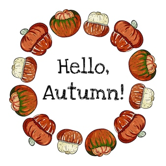 Hello autumn decorative wreath banner with cute colorful turban pumpkins