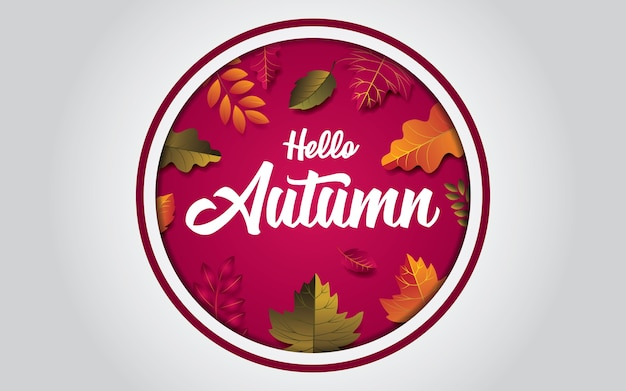 Hello autumn design background with leaves. in the oval hole.