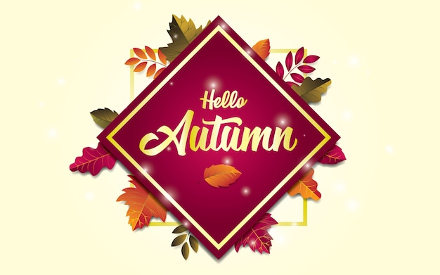 Hello autumn design background with leaves. trendy composition with gold list.
