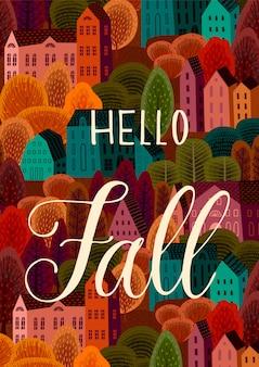Hello autumn design with autumn city illustration